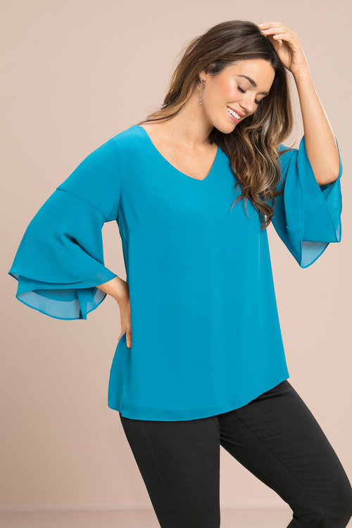Sara Double Layer Flute Sleeve Tunic