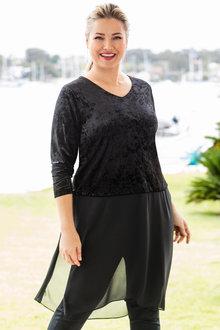 Plus Size - Sara Velvet Trim Tunic