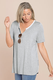 Plus Size - Sara Notch Neck Trim Tee
