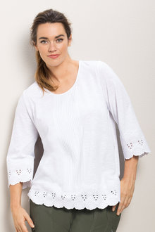 Plus Size - Sara Slub Embroidered Tee
