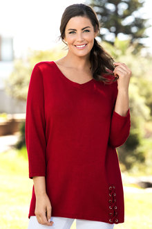 Plus Size - Sara Lace Up Detail Sweater