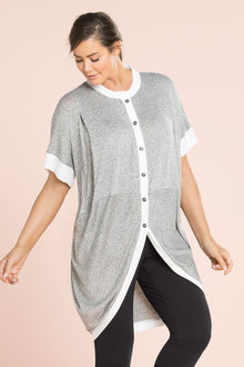 Plus Size - Sara Longline Button Through Tunic