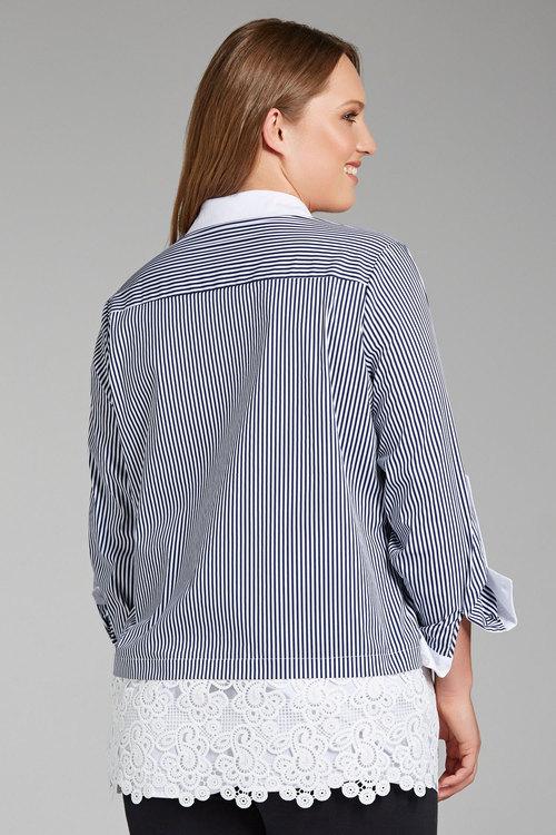 Plus Size - Sara Stripe Lace Shirt
