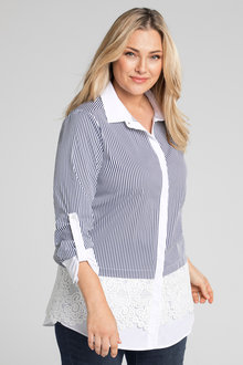 Plus Size - Sara Stripe Lace Shirt