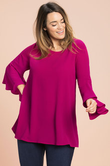 Plus Size - Sara Fluted Sleeve Tunic