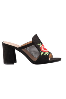 Wide Fit Astoria Embroidered Mule Sandal Heel