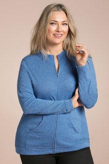Plus Size - Sara Lambswool Zip Through Cardi