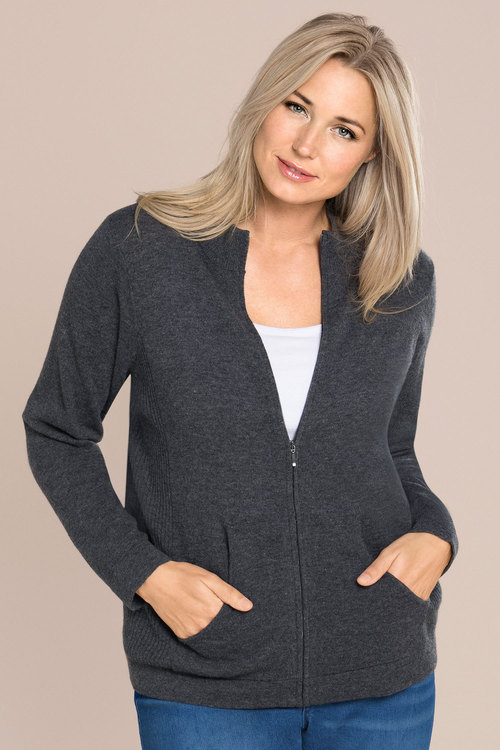 Sara Lambswool Zip Through Cardi