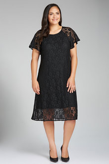 Plus Size - Sara Lace Flutter Sleeve Dress