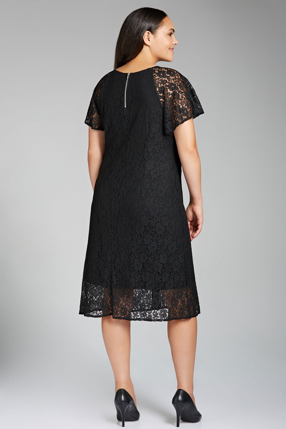 14f7ed7c1a6 Plus Size - Sara Lace Flutter Sleeve Dress