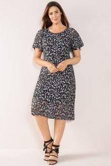 Plus Size - Sara Lace Flutter Sleeve Dress