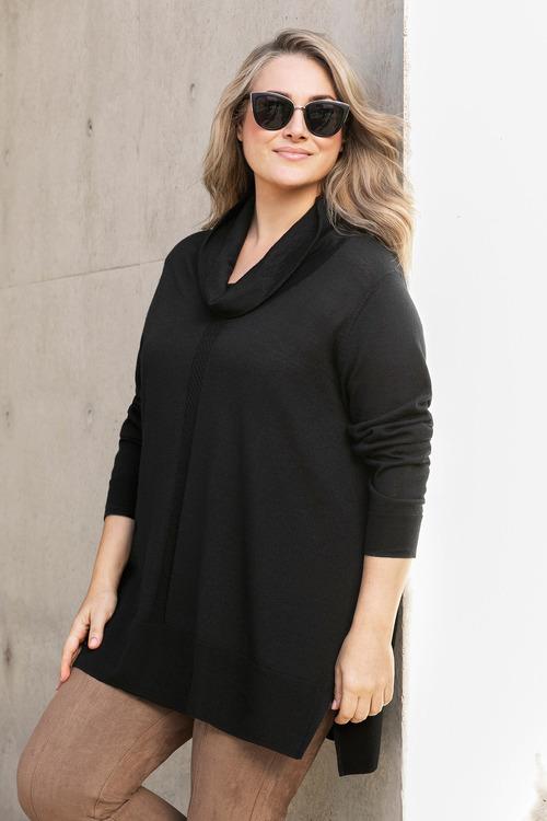 Plus Size - Sara Merino Cowl Neck