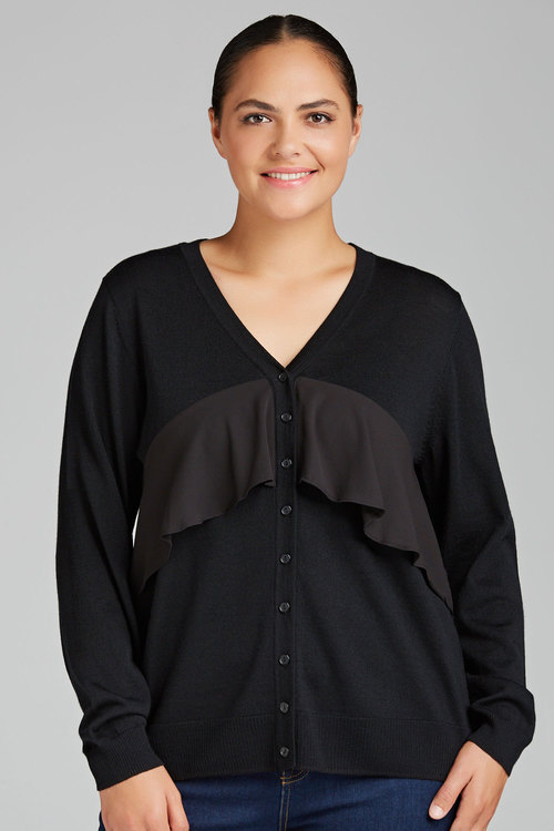 Plus Size - Sara Merino Ruffle Cardigan