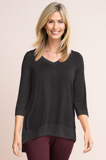 Capture 3/4 Chiffon Trim Tunic Top