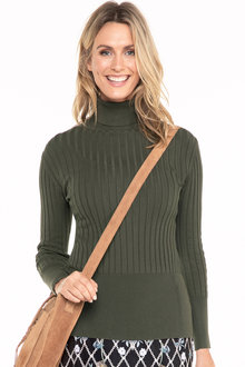 Capture Roll Neck Long Sleeve Ribbed Knit Top - 190215