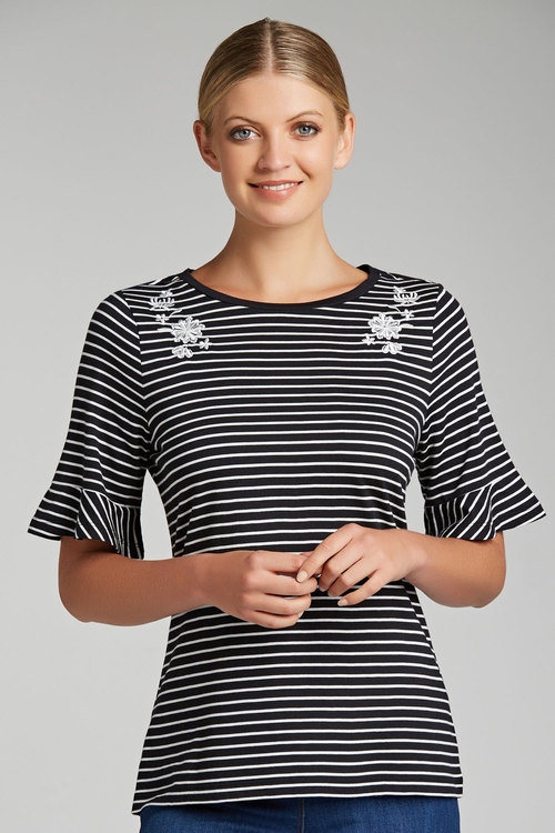 Capture Embroidered Detail Ruffle Sleeve Tee