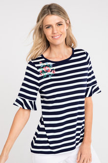 Capture Embroidered Detail Ruffle Sleeve Tee - 190224