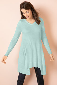 Capture V Neck Swing Tunic Sweater - 190256