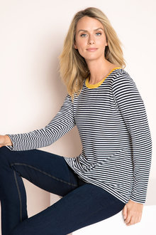 Capture Stripe Contrast Neck Top