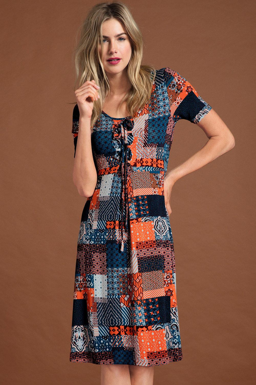 7900676128 Capture Patchwork Print Dress Online