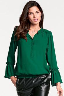 Heine Ruffle Sleeve Silk Blend Blouse