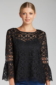 Emerge Star Lace Bell Sleeve Top - 190430