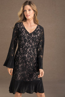 Grace Hill Lace Shift Dress with Pleating