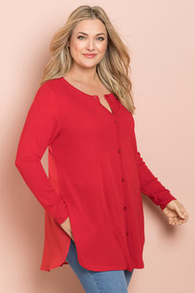 Plus Size - Sara Merino Chiffon Back Cardigan