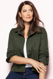 Plus Size - Sara Khaki Jacket