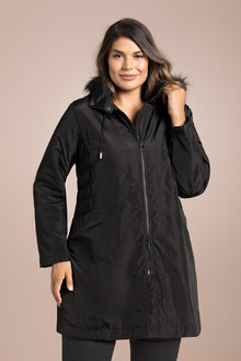 Plus Size - Sara Fur Trim Hood Coat
