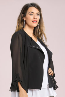 Plus Size - Sara Chiffon Trim Jacket