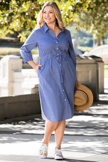 Plus Size - Sara Stripe Shirt Dress