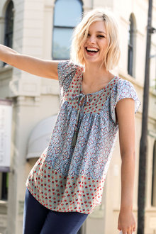 Emerge Splice Border Print Boho Top