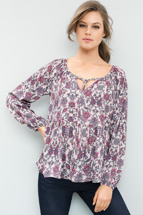 Emerge Print Ruffle Long Sleeve Tie Neck Top