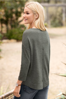 Emerge Crew Neck Button Back Detail Pullover