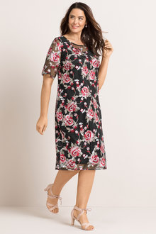 Plus Size - Sara Embroidered Lined Dress