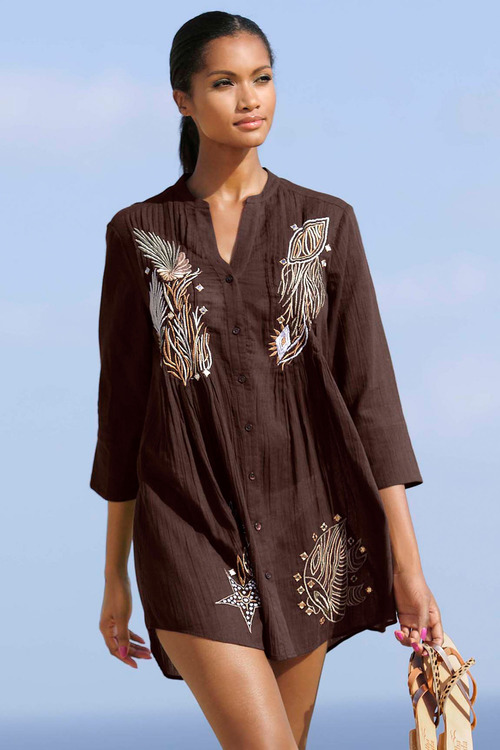 Euro Edit Embroidered Shirt Tunic