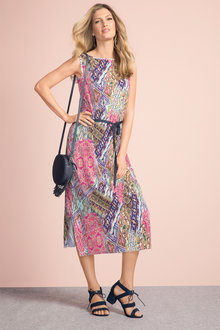 Grace Hill Printed Pleated Sheath Dress