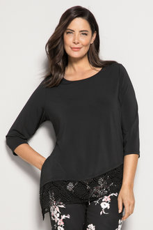 Plus Size - Sara Asymetric Lace Tunic