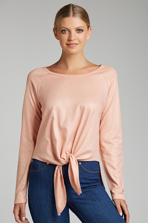 Capture Long Sleeve Metallic Top