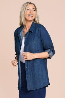 Plus Size - Sara Dark Denim Shirt