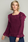 Emerge Embroidered Long Sleeve Ruffle Top