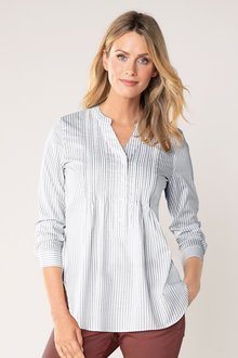 Capture Collarless Pintuck Long Placket Shirt