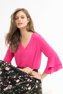 Emerge Bell Sleeve Double Ruffle Top