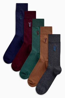 Next Colour Stag Embroidered Socks Five Pack