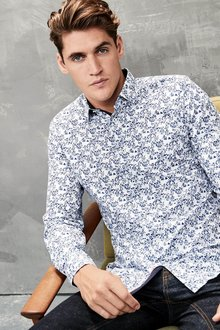 Next Floral Print Slim Fit Shirt