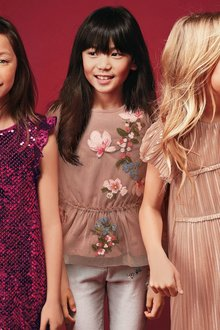 Next Floral Embellished Mesh Blouse (3-16yrs)