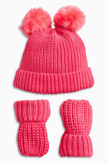 Next Pom Hat And Mittens Set (Younger Girls)