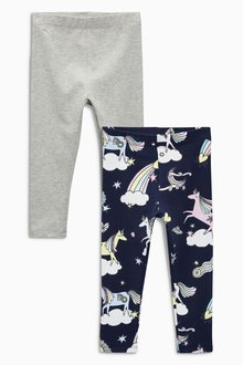 Next Unicorn Print Leggings Two Pack (3mths-6yrs)
