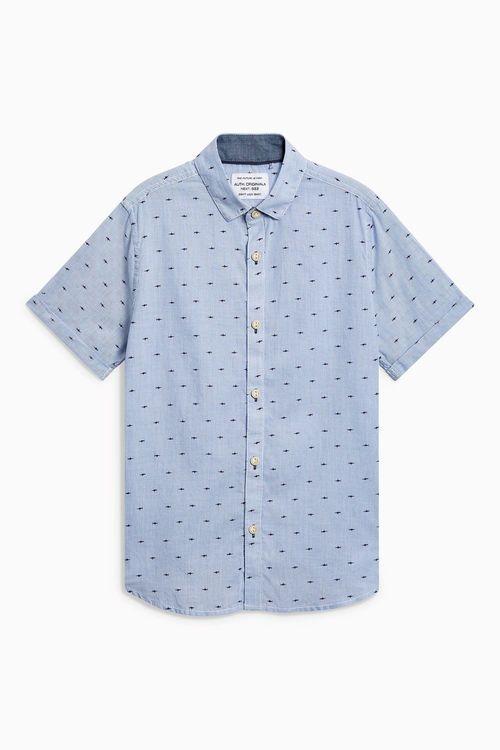 Next Short Sleeve Printed Ticking Stripe Shirt (3-16yrs)